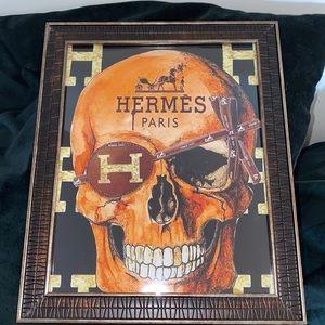 Hermes Skull framed canvas print